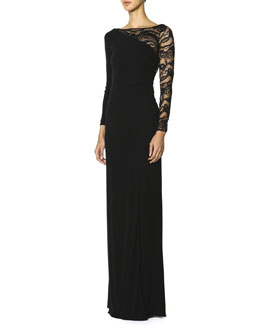 Emilio Pucci Long-Sleeve Asymmetric Lace-Yoke Gown, Nero (Black)