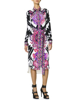 Emilio Pucci Long-Sleeve Printed Silk Shirtdress with Self Belt, Multicolor