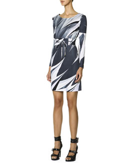 Emilio Pucci Long-Sleeve Printed T-Shirt Dress, Black/White