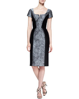 Carolina Herrera Short-Sleeve Broadtail Jacquard Dress, Gray/Black