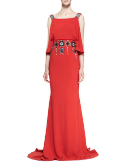 Carolina Herrera Cold-Shoulder Jeweled Gown, Lava Red