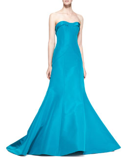 Carolina Herrera Strapless Evening Gown, Turquoise