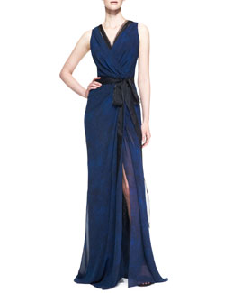 Carolina Herrera Sleeveless Silk Wrap Gown with Tie, Cobalt/Black