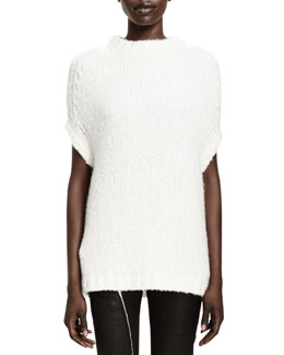 Rick Owens Maglia Ribbed-Knit Sweater, Milk
