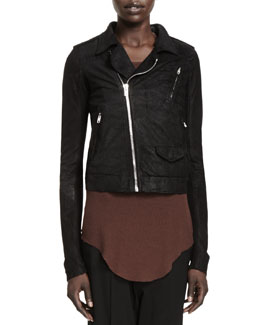 Rick Owens Stooges Knit-Panel Leather Jacket