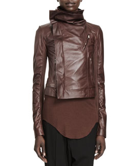 Rick Owens Classic Lamb Leather Biker Jacket