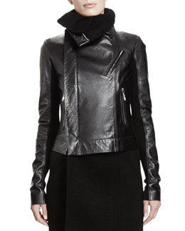 Rick Owens Leather Biker Jacket, Black