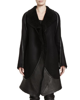 Rick Owens Stag Shearling Fur & Leather Coat