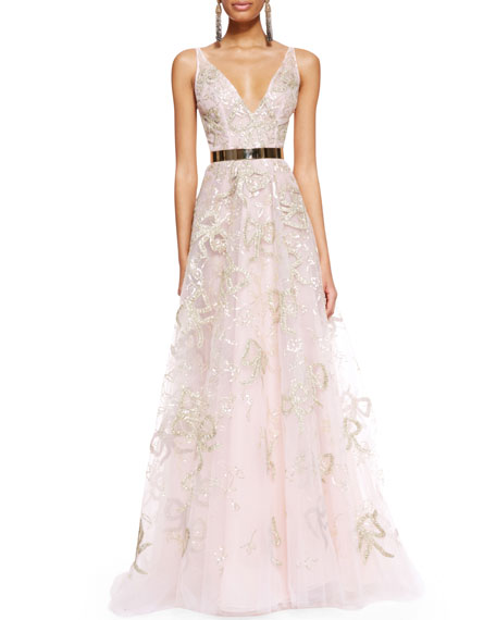 Sleeveless Bow-Embroidered Gown