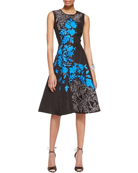 f0bba7e79a Oscar de la Renta Sleeveless Floral-Embroidered Silk Cocktail Dress ...