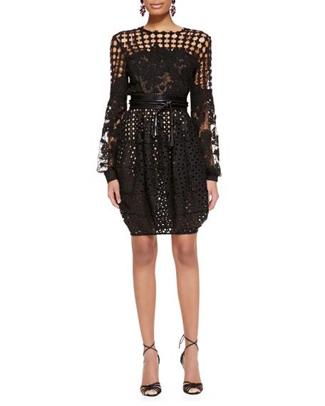 Cutout Bubble Skirt, Black
