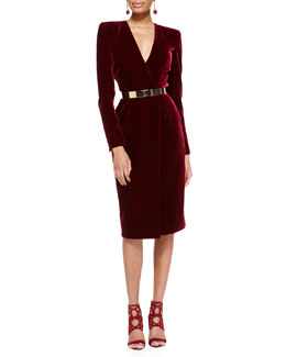 Oscar de la Renta Long-Sleeve Velvet Crossover Dress
