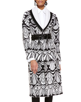 Oscar de la Renta Printed Shawl-Collar Coat, White/Black
