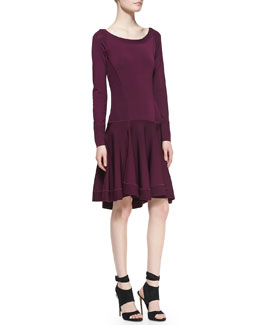 Donna Karan Long-Sleeve Fit-and-Flare Dress with Dropped Waist, Berry