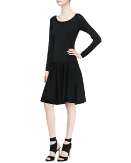 Donna Karan Long-Sleeve Fit-and-Flare Dress with Dropped Waist, Black