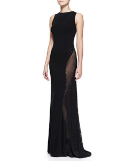 Donna Karan Sleeveless Embroidered Bateau Gown with Sheer Panel, Black