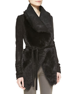 Donna Karan Lamb Fur-Front Suede Jacket with Jersey Insets, Black