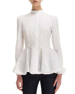 Alexander McQueen Pleated-Peplum Mandarin-Collar Cotton Blouse