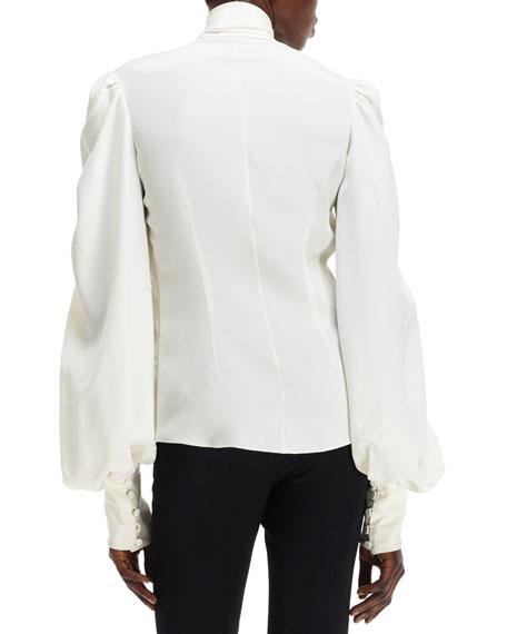 315ad11a4bad92 Alexander McQueen Cady Self-Scarf Puff-Sleeve Silk Blouse
