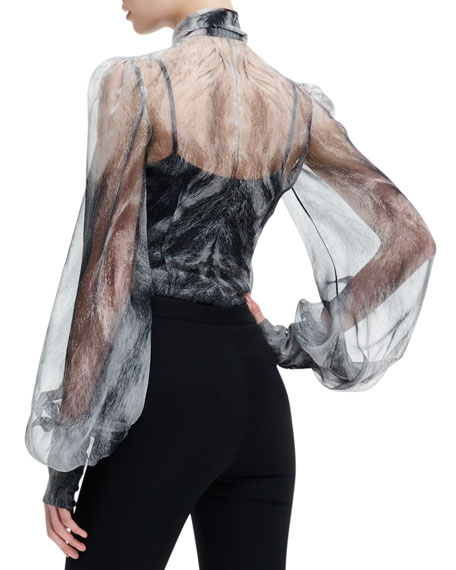 Chiffon Fox Fur-Print Long-Sleeve Blouse