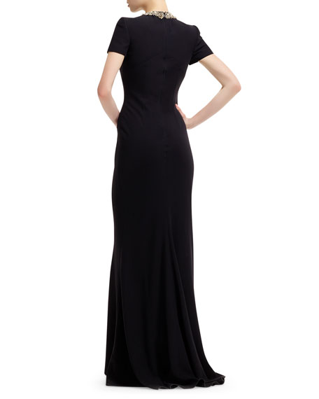 Jewel Encrusted-Neck Short-Sleeve Gown