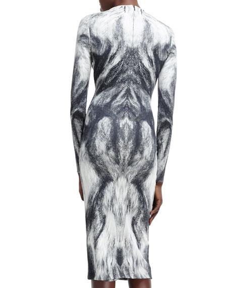Long-Sleeve Fur-Printed Jersey Dress, White/Black
