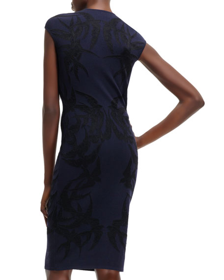 Bird-Pattern Jacquard Cap-Sleeve Dress