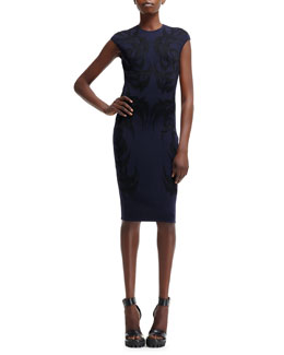 Alexander McQueen Bird-Pattern Jacquard Cap-Sleeve Dress
