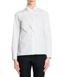 Jil Sander Front-Flap Cotton Blouse