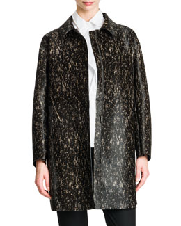 Jil Sander Long Leather Speckled Coat