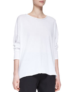 eskandar Long-Sleeve Double-Edge Scoop-Neck Top, White