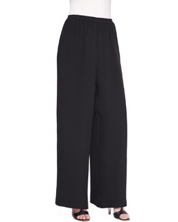 Flared Silk Trousers, Black