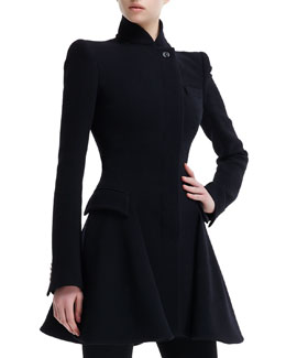 Alexander McQueen Kate High-Collar Flared Coat