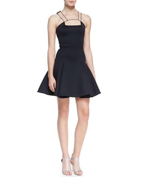 String-Strap-Detail Flounce Dress