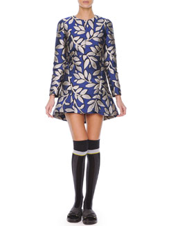 Marni Long-Sleeve Macro-Flower Jacquard Tunic Dress