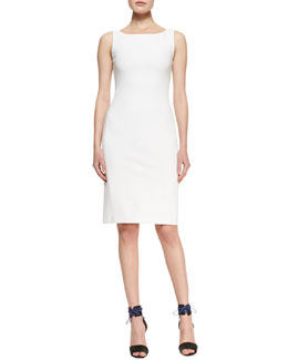 Adam Lippes Sleeveless Cady Dress with Back Zip, White