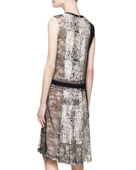 Sleeveless V-Neck Printed Silk Dress with Lace