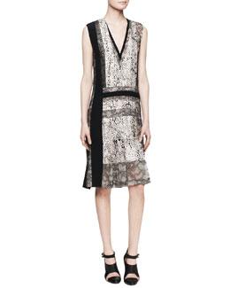J. Mendel Sleeveless V-Neck Printed Silk Dress with Lace