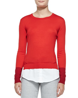 Altuzarra Wool Layered-Tail Crewneck Sweater