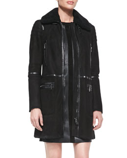 Belstaff Suede Shearling-Collar Zip Coat