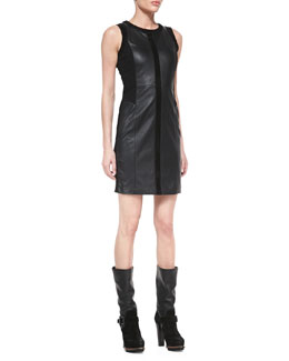Belstaff Sleeveless Paneled Leather Combo Dress