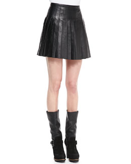 Belstaff Pleated Glove Leather Skirt