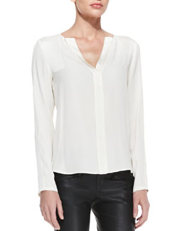 Belstaff Split-Neck Shirttail Blouse