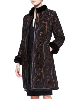 Etro Mink-Collar Paisley Reversible Rabbit Coat