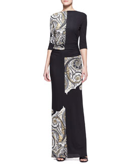 Etro Half-Sleeve Pattern-Block Paisley Maxi Dress