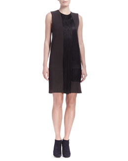 Lanvin Sleeveless Waterfall Fringe Shift Dress, Dark Brown