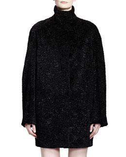 Alexander McQueen Stand Collar Cocoon Coat, Black