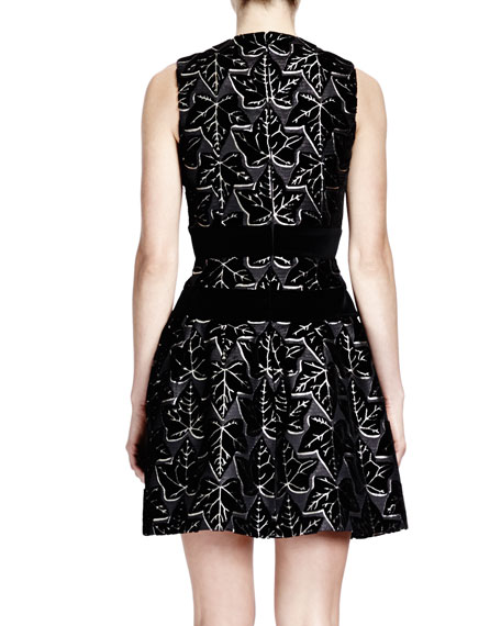 Sleeveless Ivy-Print Dress with Velvet Bands, Black/White