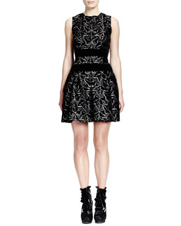 Alexander McQueen Sleeveless Ivy-Print Dress with Velvet Bands, Black/White