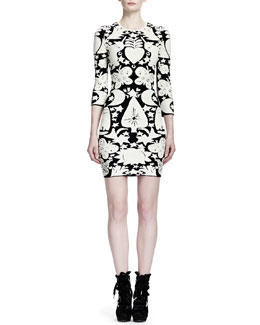 Alexander McQueen 3/4-Sleeve Fairy Tale-Print Sheath Dress, Black/White